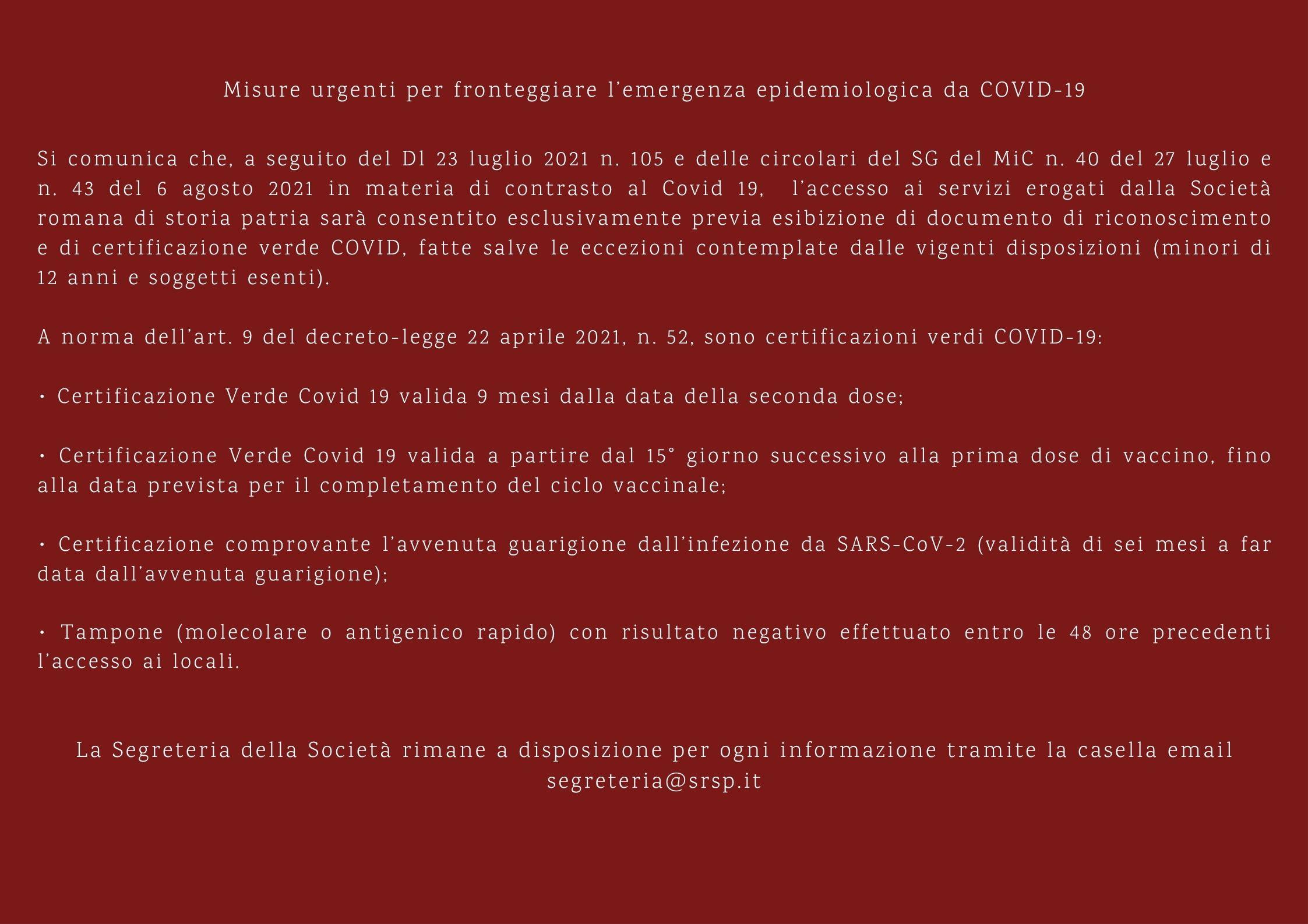 Misure anti Covid-19