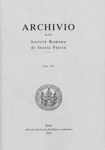 ARCHIVIO DELLA SOCIETÀ ROMANA DI STORIA PATRIA vol. 137 - 2014