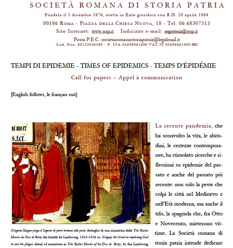 Call for papers Tempi di epidemie_Times of Epidemics_Temps d'épidémie