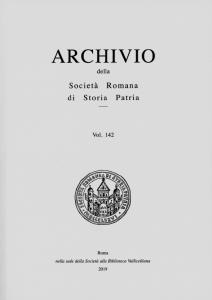 Archivio della Società Romana di Storia Patria vol. 142 - 2019